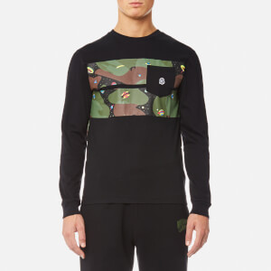 Billionaire Boys Club Men's Space Camo Stripe Long Sleeve T-Shirt - Black