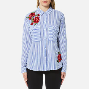 Rails Women's Frances Stripe and Floral Patch Shirt - Banker Stripe with Red Floral Patches