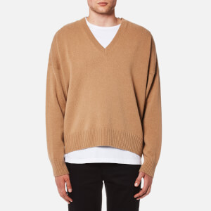 AMI Men's Oversized V-Neck Jumper - Camel
