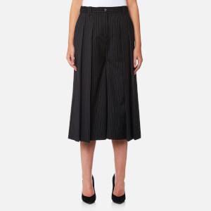 McQ Alexander McQueen Women's Pleated Pinstripe Culottes - Black