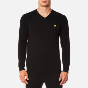Lyle & Scott Men's V-Neck Cotton Merino Jumper - True Black
