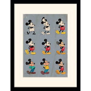 Disney Mickey Mouse Evolution Mounted 30 x 40cm Print