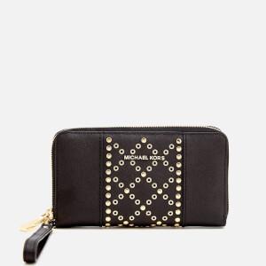 MICHAEL MICHAEL KORS Women's Large Flat Leather Wristlet Phone Case - Black