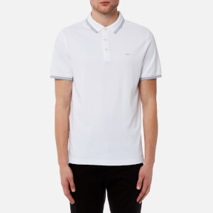 Michael Kors Men's Greenwich Logo Jacquard Short Sleeve Polo Shirt - White