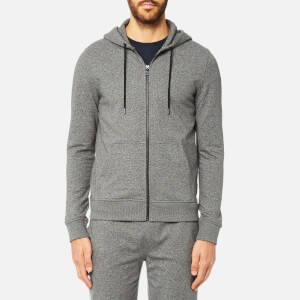 Michael Kors Men's Lightweight Stretch Full Zip Long Sleeve Hoody - Black Jaspe