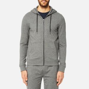 Michael Kors Men's Lightweight Stretch Full Zip Long Sleeve Hoody - Black Jaspe