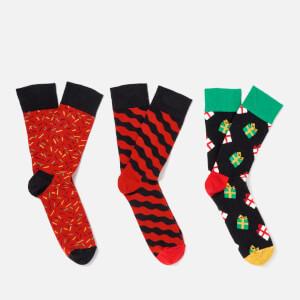 Happy Socks Men's Holiday Singing 3-Pack Socks Box - Multi - EU 41-46