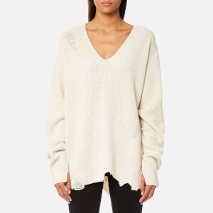 Helmut Lang Women's Distressed V-Neck Jumper - Cream