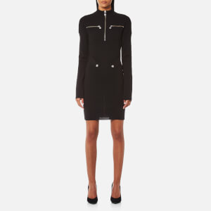 Versus Versace Women's High Neck Zip Knit Dress - Black