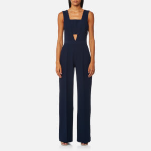 Perseverance London Women's Heavy Crepe Wide Leg Jumpsuit - Petrol Blue