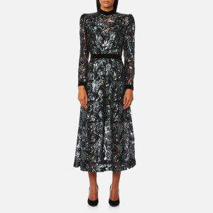Perseverance London Women's Floral Multi Sequin Midi Dress - Silver