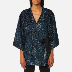 Perseverance London Women's Lurex Velvet Kimono Cover Up - Petrol Blue