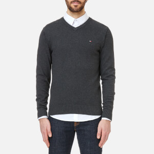 Tommy Hilfiger Men's Pima Cotton Cashmere V Neck Knitted Jumper - Charcoal