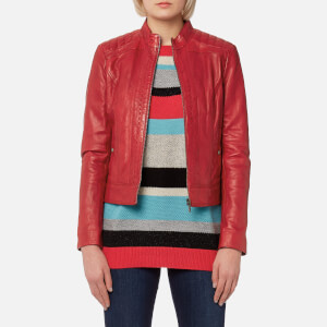 BOSS Orange Women's Janabelle3 Leather Jacket - Medium Red