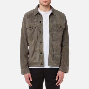 Officine Générale Men's Liam Light Suede Jacket - Grey