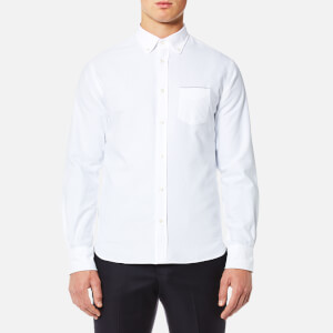 Officine Générale Men's Japanese Selvedge Oxford Button Down Shirt - White Navy Selvedge