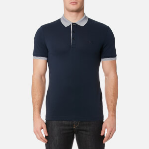 BOSS Green Men's Paule Collar Detail Polo Shirt - Navy