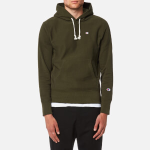Champion Men's Over Head Small Chest Logo Hoody - Khaki