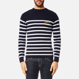 Maison Labiche Men's Gentleman Crew Neck Knitted Jumper - Blue Off White