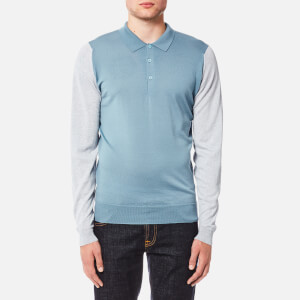 John Smedley Men's Brightgate 30 Gauge Merino Long Sleeve Polo Shirt - Blue