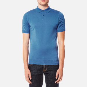 John Smedley Men's Payton 30 Gauge Merino Short Sleeve Polo Shirt - Derwent Blue