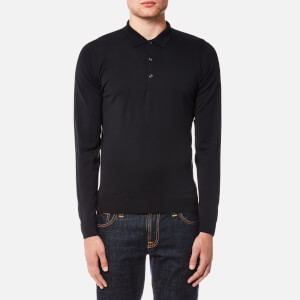 John Smedley Men's Belper 30 Gauge Merino Long Sleeve Polo Shirt - Black