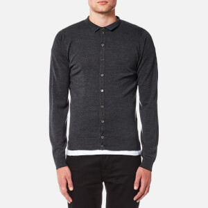 John Smedley Men's Parwish 24 Gauge Merino Full Button Opening Shirt - Charcoal