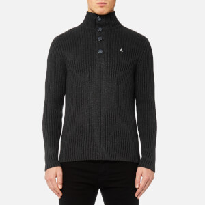 MUSTO Men's Trent Button 1/2 Neck Knitted Jumper - Charcoal
