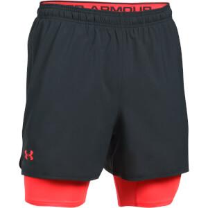 Under Armour Men's Qualifier 2-in-1 Shorts - Black/Red