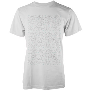 Origami Dinosaur All Over White T-Shirt