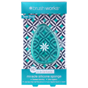ESPONJA DE MAQUILLAJE BRUSHWORKS HD SILICONE MIRACLE SPONGE TEAR DROP APPLICATOR - TEAL