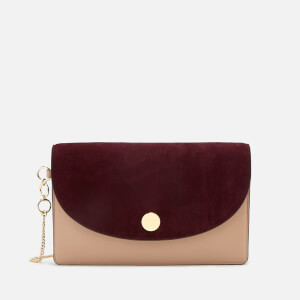 Diane von Furstenberg Women's Saddle Evening Clutch Bag - Bordeaux/Dusty Pink