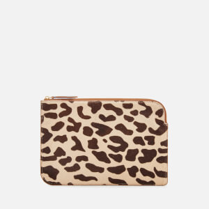 Diane von Furstenberg Women's Leopard Medium Zip Pouch - Leopard/Chestnut