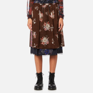 Coach Women's Mixed Print Layered Skirt - Brown/Multi
