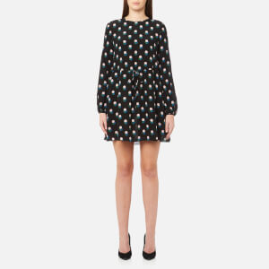 Diane von Furstenberg Women's Long Sleeve Mini Dress - Casimir Dot Black