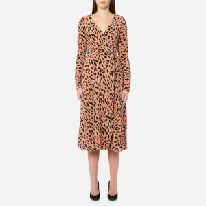 Diane von Furstenberg Women's Long Sleeve Midi Woven Wrap Dress - Belmont camel