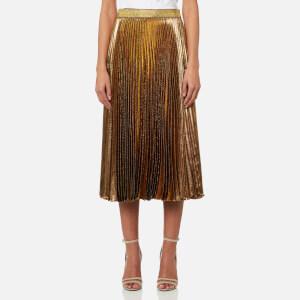 Christopher Kane Women's Midi Pleated Lame Skirt - Gold