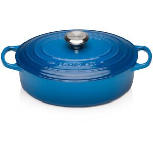 Le Creuset Cast Iron Oval Shallow Casserole Dish - 27cm - Marseille Blue