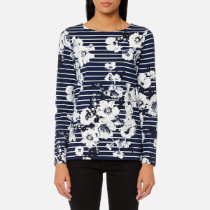 Joules Women's Harbour Print Jersey Top - French Navy Posy Stripe