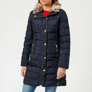 Joules Women's Caldecott Feather and Down Coat with Faux Fur Trim Hood - Marine Navy