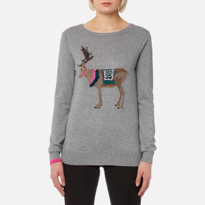 Joules Women's Festive Luxe Embellished Intarsia Jumper - Grey Reindeer