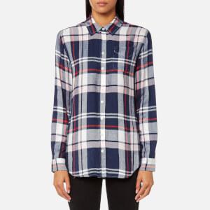 Joules Women's Laurel Long Line Shirt - Navy Multi Check