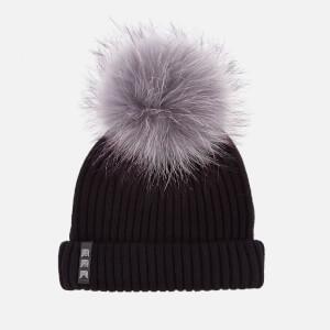 BKLYN Women's Merino Wool Hat with Grey/Purple Pom Pom - Black