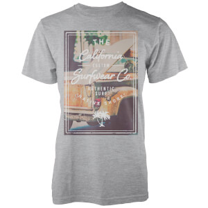 Native Shore Men's California Custom Surf Graphic T-Shirt - Light Grey Marl