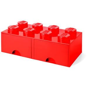 Ladrillo de almacenamiento LEGO (8 espigas) - 2 cajones - Rojo