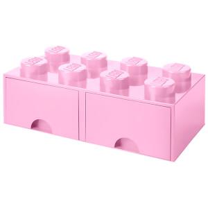 Brique de rangement LEGO® 8 Tenons 2 Tiroirs - Rose Clair
