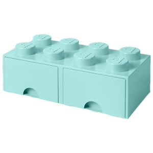 LEGO Storage 8 Knob Brick - 2 Drawers (Aqua Light Blue)