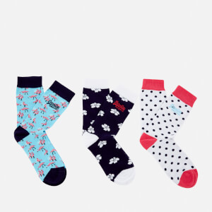 Superdry Women's Flamingo Triple Pack Socks - Blue/Navy/White