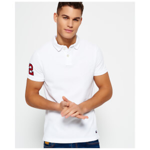 Superdry Men's Classic Embossed Pique Short Sleeve Polo Shirt - Optic White