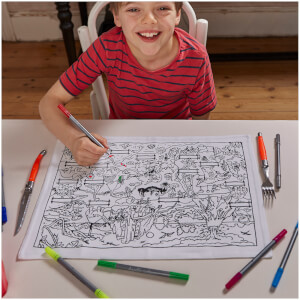 eatsleepdoodle Dinosaur Placemat to Go - Colour Your Own Placemats with 10 Wash-Out Pens